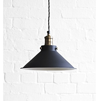 Larger Dexter Pendant Light In Ash Black With White Interior