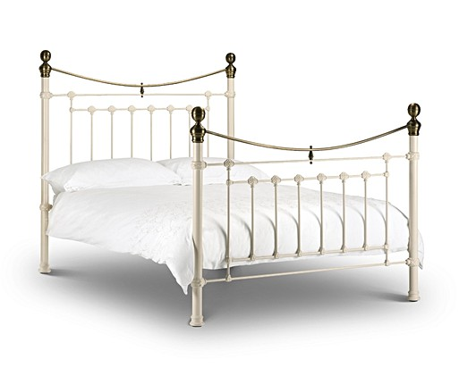 Victoria Stone White & Brass Bed - Single, Double or King Size