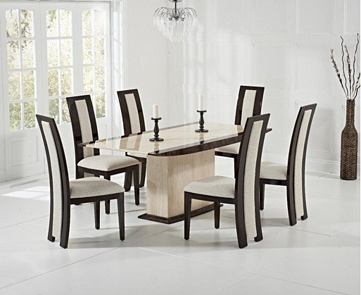 Isi 180cm Cream Pedestal Marble Dining Table With Raphael Chairs