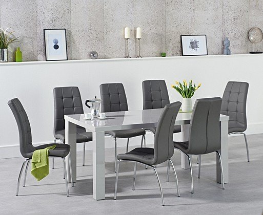 2ffdb23d04d4 Atlanta 160cm Light Grey High Gloss Dining Table with Calgary Chairs