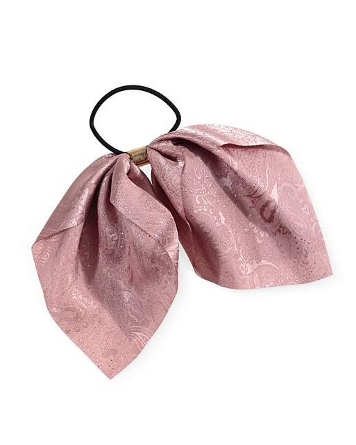 Elegance Pink Paisley Jacquard Bow Hair Elastic Oliver