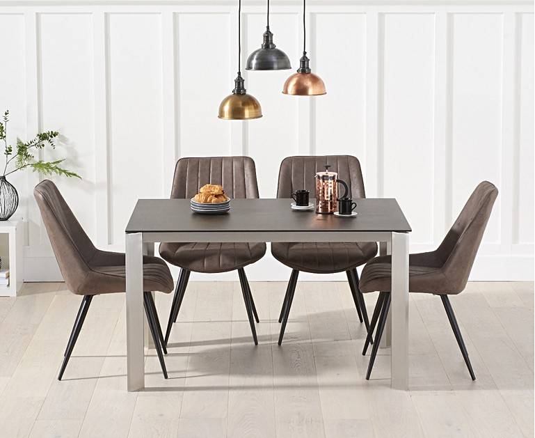 Antonella 130cm Grey Spanish Ceramic Dining Table With Marcel Antique Chairs