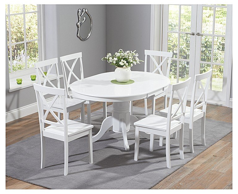 Epsom White Pedestal Extending Dining Table Set With Chairs