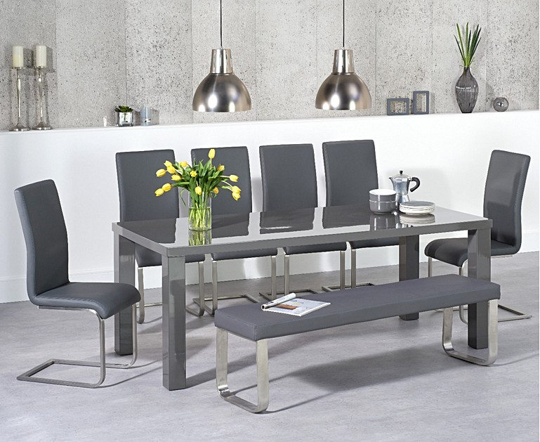 Atlanta 200cm Dark Grey High Gloss Dining Table With Malaga Chairs And Large Bench