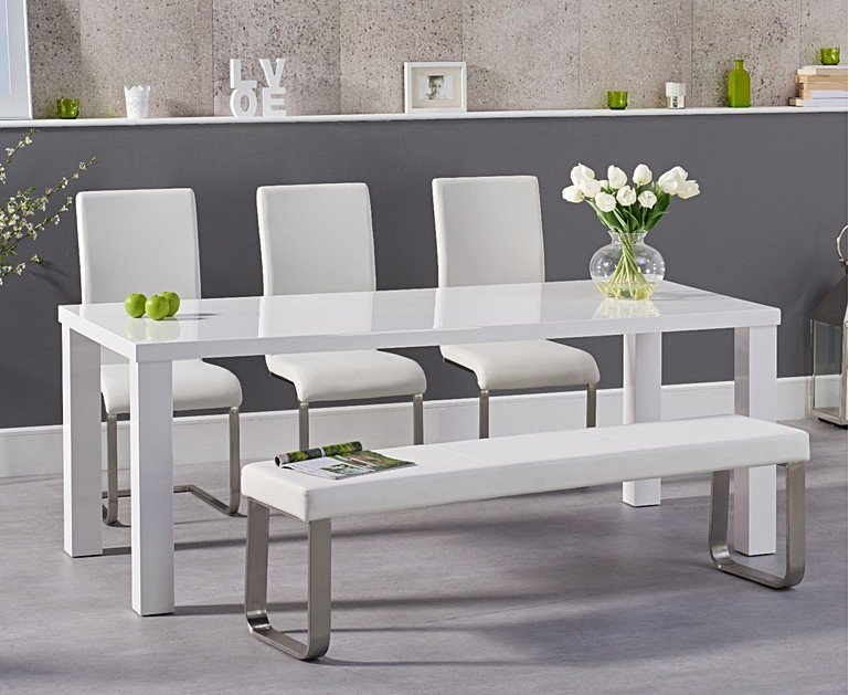 200cm White High Gloss Dining Table