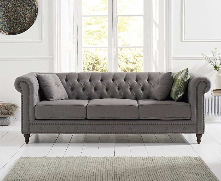 Milano Chesterfield Grey Linen Fabric 3 Seater Sofa