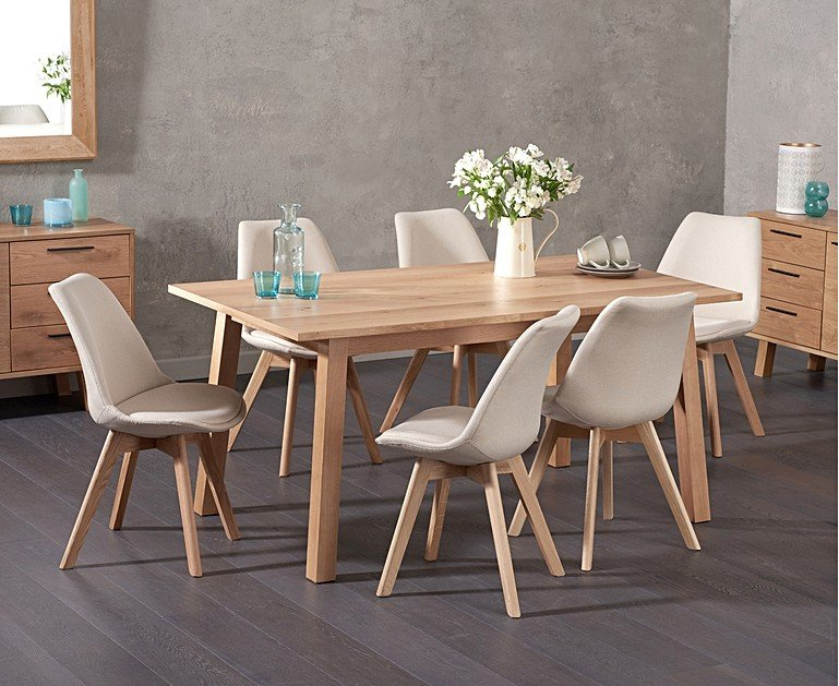 Combining The Traditional Material Of Oak With Modern Clean Edged Style Annalie 160cm Dining Table Duke Fabric Chairs Offers Best Both