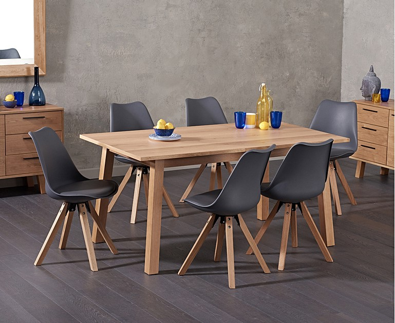Update The Look Of Your Interior With Annalie 160cm Oak Dining Table Oscar Faux Leather Square Leg Chairs Which Offers A Scandi Inspired That
