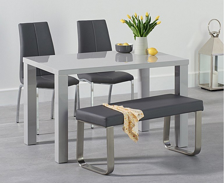 Atlanta 120cm Light Grey High Gloss Dining Table With Cavello Chairs And Atlanta Grey Bench