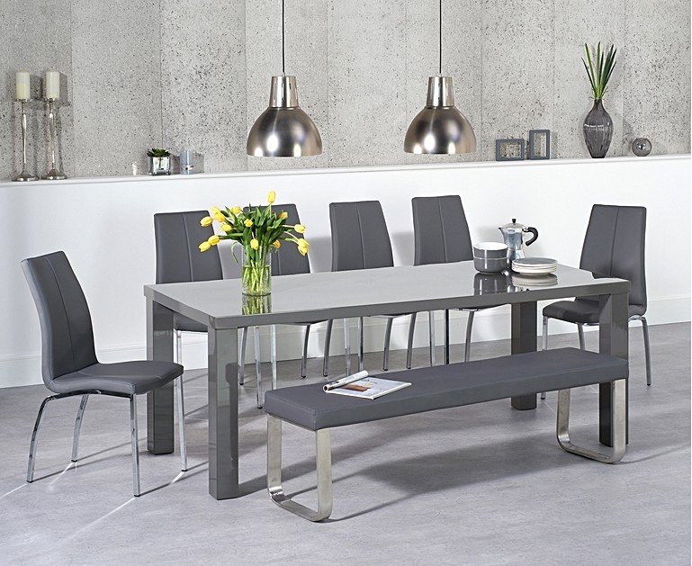Atlanta 200cm Dark Grey High Gloss Dining Table With Cavello Chairs And Large Bench