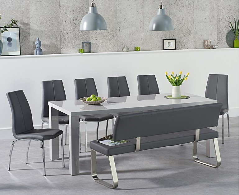 Atlanta 200cm Light Grey High Gloss Dining Table With Cavello Chairalaga Large Bench