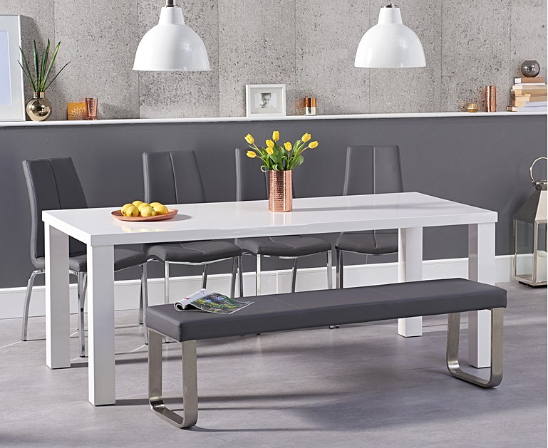 Atlanta 200cm White High Gloss Dining Table With Cavello Chairs And Large Grey Bench