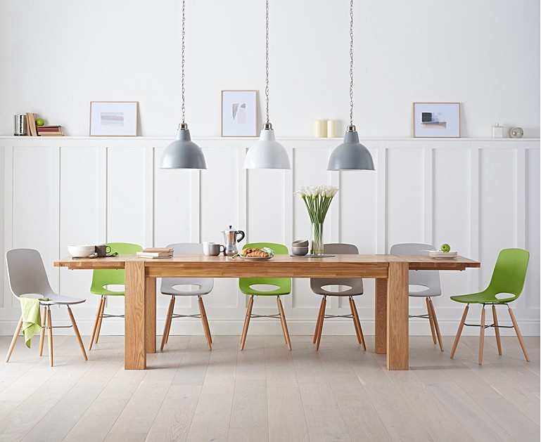 Madrid 200cm Solid Oak Extending Dining Table With Nordic Wooden Leg Chairs