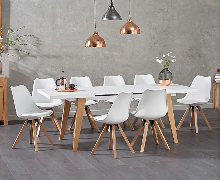 Wonderfully Chic And Contemporary The Nicole Extending White Dining Table With Oscar Faux Leather Square Leg Chairs Is A Stunning Addition To Any