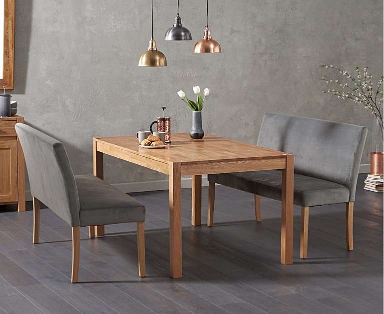 Oxford 150cm Solid Oak Dining Table With Mia Grey Velvet Benches Backs