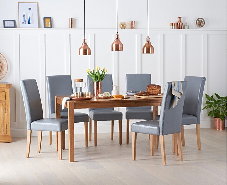 Oxford 150cm Solid Oak Dining Table With Albany Brown Chairs