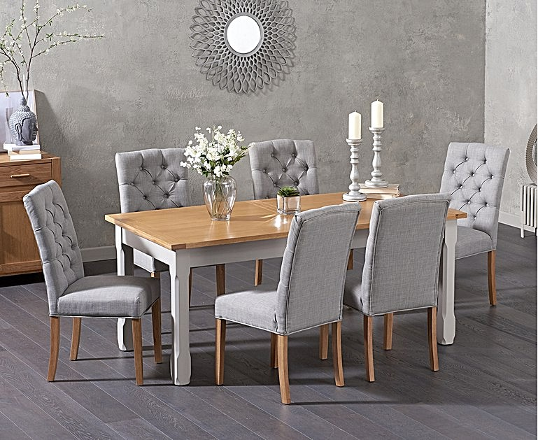 Ex Display Somerset 180cm Oak And Grey Extending Dining Table
