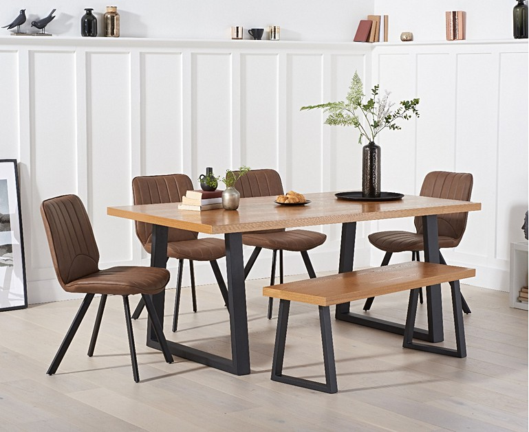 Urban 180cm Dining Table With Dexter Faux Leather Chairs And Benches