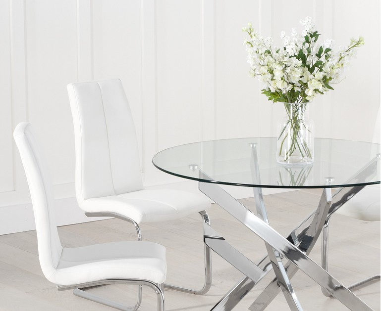 denver-110-tarin_2_.jpg  sc 1 st  Oak Furniture Superstore & Denver 110cm Glass Dining Table with Tarin Chairs