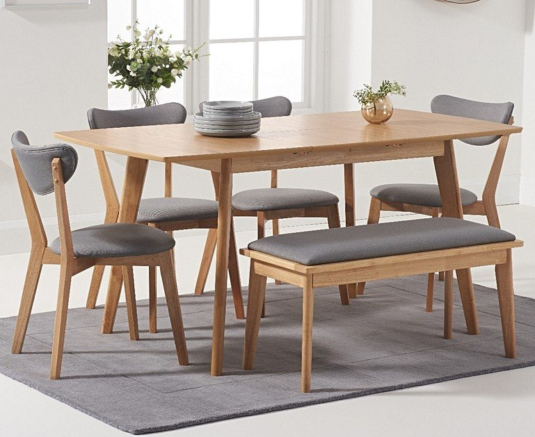 Sacha Grey And Oak Extending Dining Table With Sasha Cushion Seat Chairs And Sacha Benches