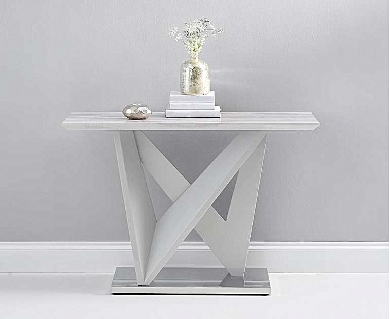Ex Display Reims Marble Effect Carrera Light Grey Console Table - Display Sofa Table