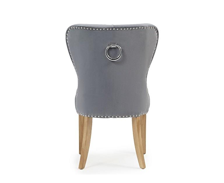 Knightsbridge Studded Grey Velvet Oak Leg Dining Chairs