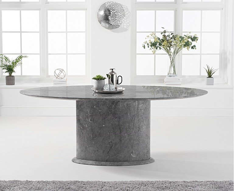Colby 200cm Oval Grey Marble Dining Table with Giovanni ...