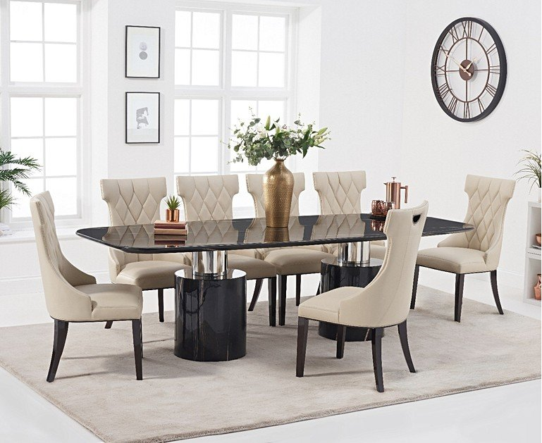 antonio 260cm black marble dining table with freya chairs