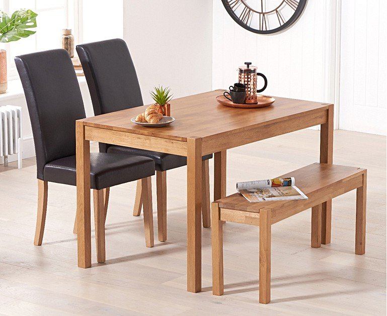 Oxford 120cm Solid Oak Dining Table with Benches and ...