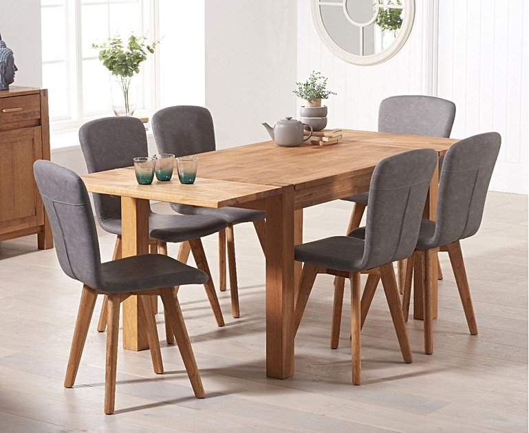 8b906e168e Verona 120cm Extending Oak Table With Tivoli Faux Leather Chairs