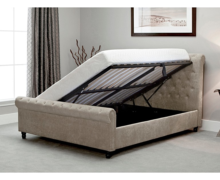 Bicester Stone Fabric Ottoman King Size Bed