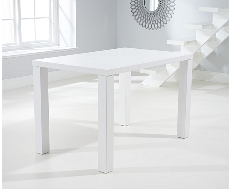 Atlanta 120cm White High Gloss Dining Table With Tarin Chairs