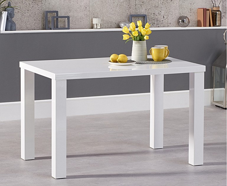 Atlanta 120cm White High Gloss Dining Table With Malaga