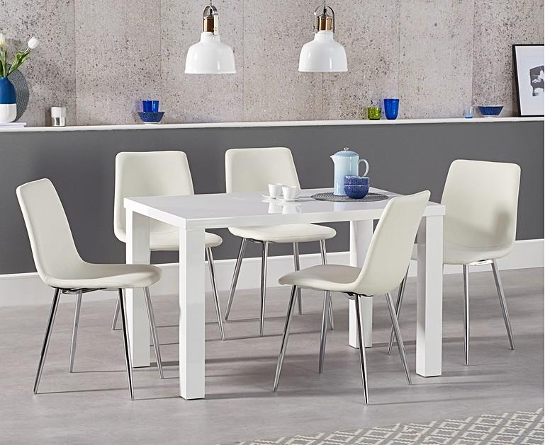 Atlanta 120cm White High Gloss Dining Table With Helsinki