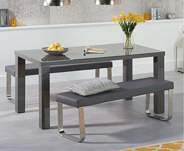 Atlanta 160cm Dark Grey High Gloss Dining Table With