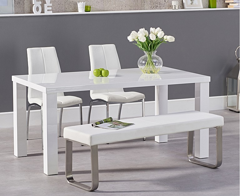 Atlanta 160cm White High Gloss Dining Table with Cavello ...