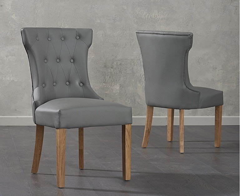 classic fit 04e9e 9fb75 Camille Grey Faux Leather Dining Chairs