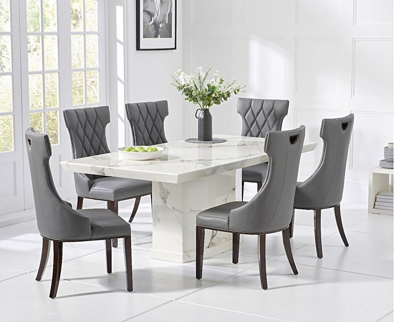 carvelle 160cm white pedestal marble dining table with