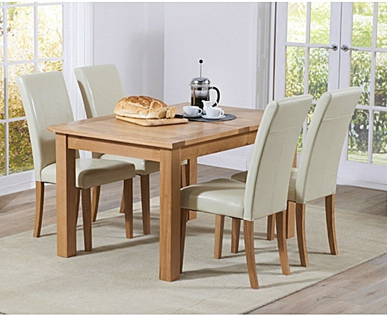 Ex Display Cheadle 130cm Oak Extending Dining Table With 6 Cream Albany Chairs