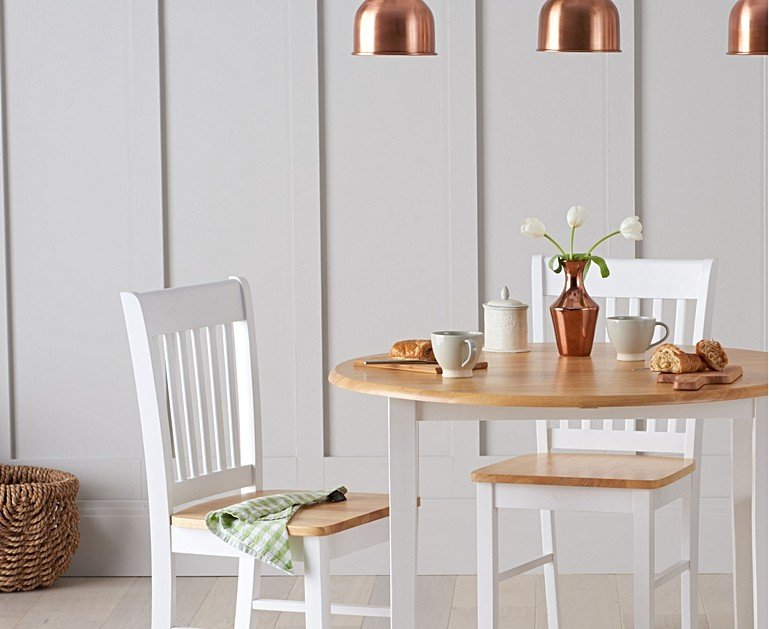 Genoa Oak and White 100cm Drop Leaf Extending Dining Table ...