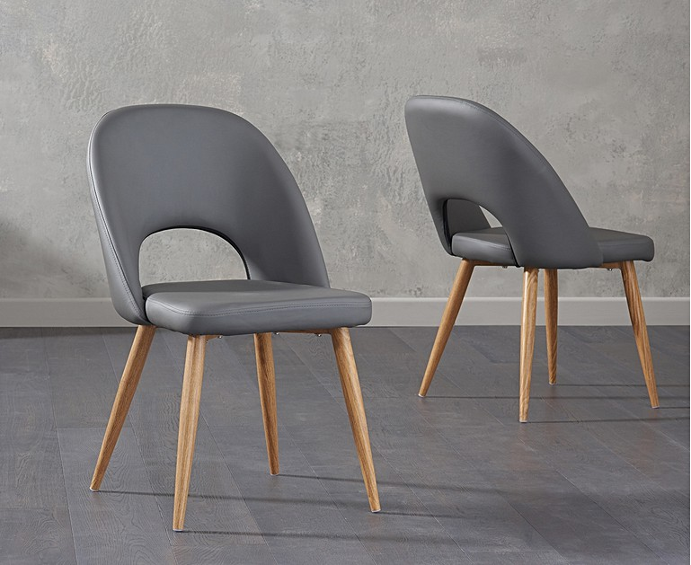 new style 6d672 1815f Halifax Grey Faux Leather Dining Chairs