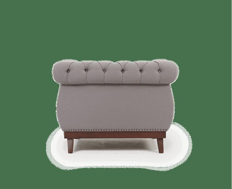 Henbury Chesterfield Grey Linen Fabric Armchair