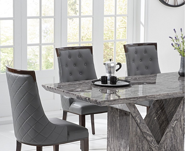 Mocha 160cm Grey Marble Dining Table With Angelica Chairs