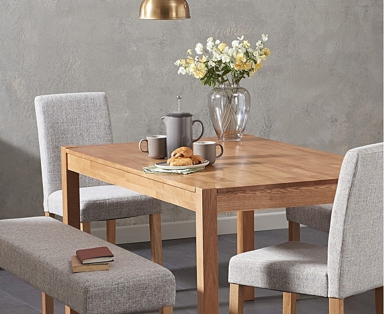 Oxford 150cm Solid Oak Dining Table Mia Large Grey Benches