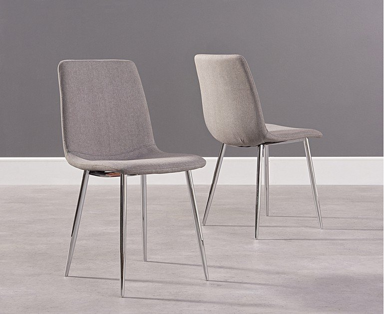 Helsinki Grey Fabric And Chrome Dining Chair