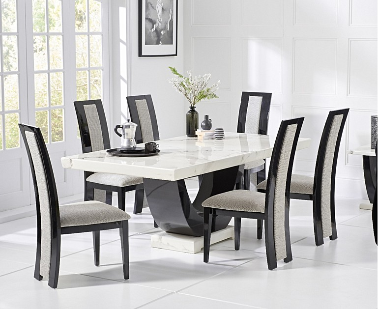b0676718a12e Raphael 200cm White and Black Pedestal Marble Dining Table with Raphael  Chairs