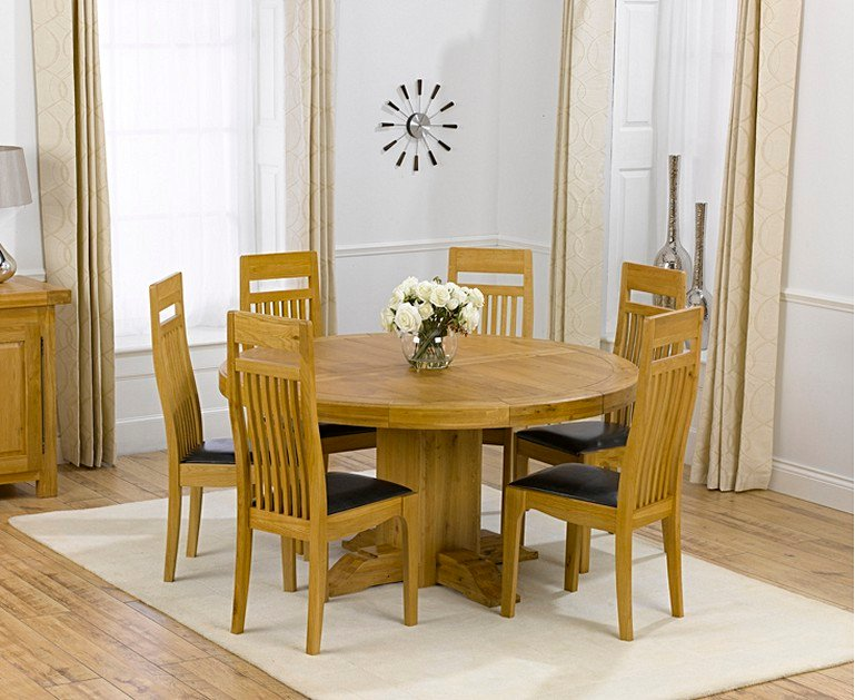 5343ba1009d0 Torino 150cm Solid Oak Round Pedestal Dining Table with Monaco ...
