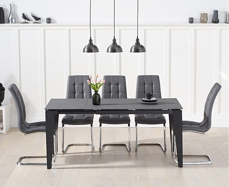 Victoria 120cm Grey Stone Extending Dining Table With Lorin Faux Leather Chairs