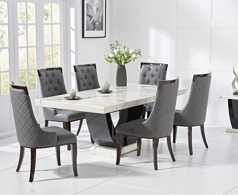 Marble Dining Room Table Chair Sets Oak Furniture Super
