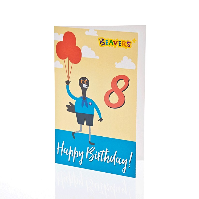 Beaver Scouts 8th Birthday Cards 6 PK